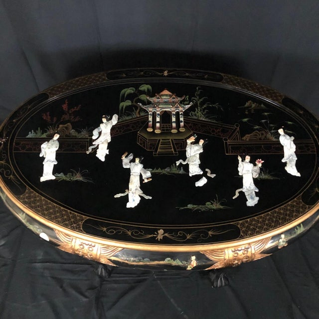 Chinese Black Ebony Lacquer Wood and Mother of Pearl Coffee Table For Sale - Image 4 of 13