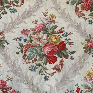 French Fabric Antique Printed Cotton c1860 Floral Design Shabby Chic For Sale