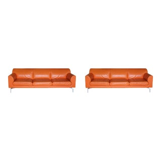 Late 20th Century Poltrona Frau Orange Sofas - a Pair For Sale