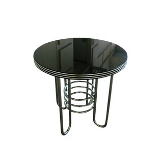 Art Deco Chrome & Black Glass Occasional Table in the Style of Gilbert Rohde