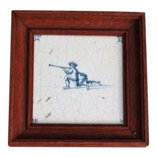 18th-C Dutch Delft Tile With Rifleman Figure For Sale