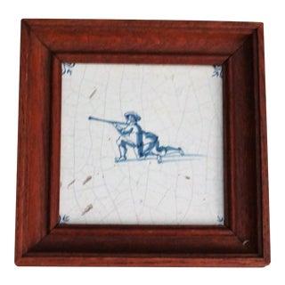 18th-C Dutch Delft Tile With Rifleman Figure For Sale