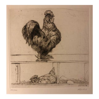 Sigmund Abeles Etching Cock of the Roost 1981 For Sale