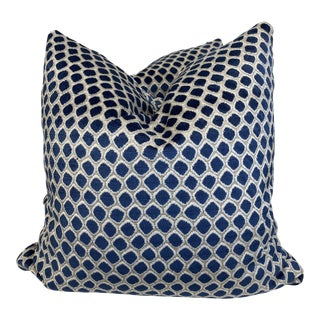 "Royal Blue and White Cut Velvet 22"" Pillows-A Pair For Sale"