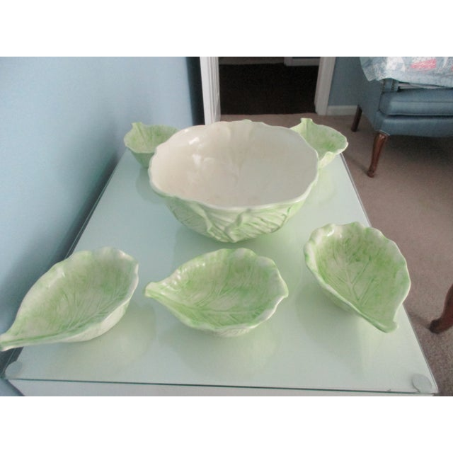White 1970s Cabbage Ware - Set of 7 For Sale - Image 8 of 12