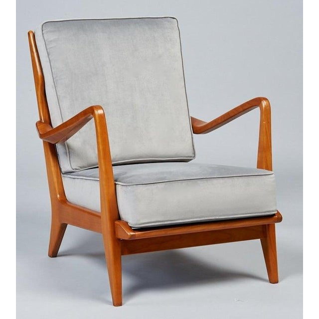 Wood 1950s Vintage Gio Ponti Exquisite Pair of Sculptural Armchairs- A Pair For Sale - Image 7 of 11