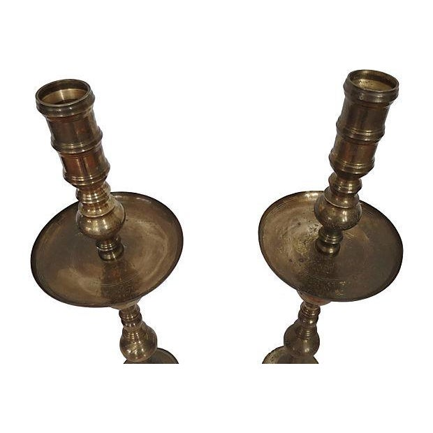 Monumental Moroccan Brass Pillar Floor Candle Holders - A Pair - Image 4 of 9