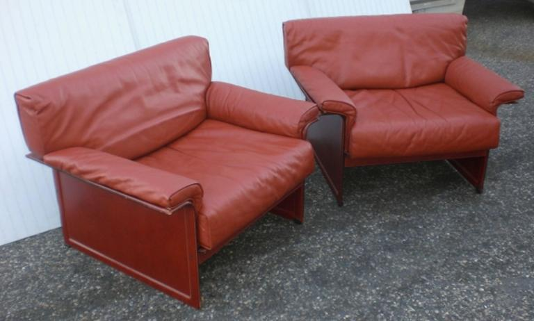 Exceptionnel Leather Mid Century Modern Club Chairs   A Pair   Image 6 Of 6
