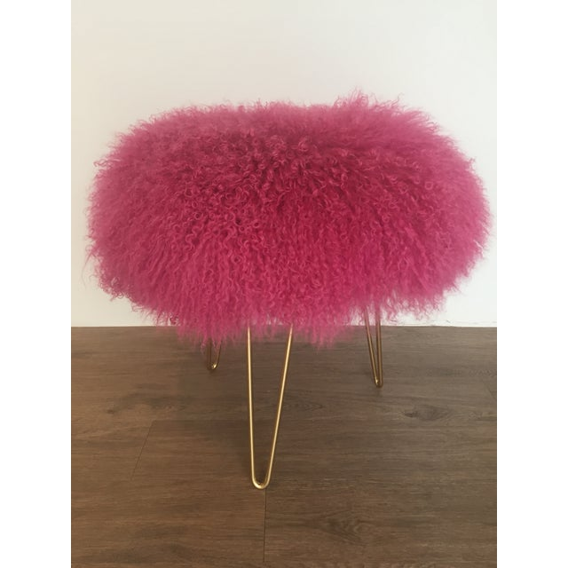 Hot Pink Mongolian Lamb Stool For Sale - Image 4 of 4