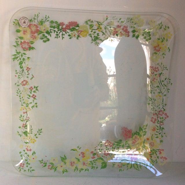 Arts & Crafts Glass Dorothy Thorpe California Wild Flower Square Serving Platter For Sale - Image 3 of 13