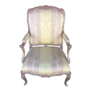 1960s Upholstered 22k Carved Giltwood Arm Chair For Sale