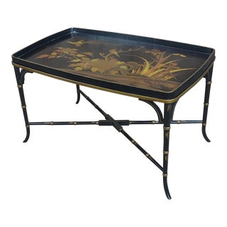 Chinoisserie Tray Coffee Table With Ebonized Faux Bamboo Legs For Sale