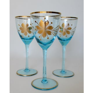 Vintage C.1950s Czechoslovakian Hand-Blown Brilliant Blue and Gilt Rimmed Wine Glasses -Set of 3 Preview