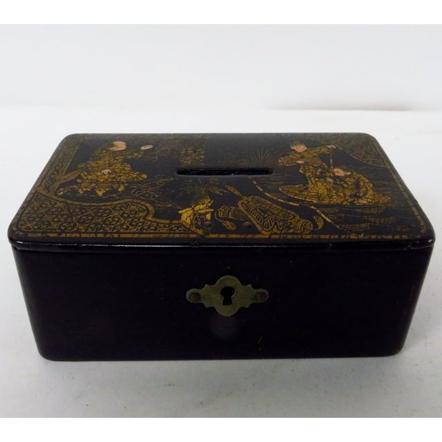 Black Antique 19th Century English Chinoiserie Decorated Papier-Mâché Box For Sale - Image 8 of 8