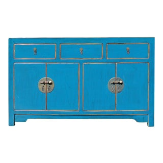 Distressed Teal Blue Lacquer Oriental Sideboard Table Cabinet