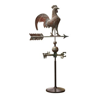 19th Century French Patinated Tole Rooster Weather Vane With the Cardinal Points For Sale