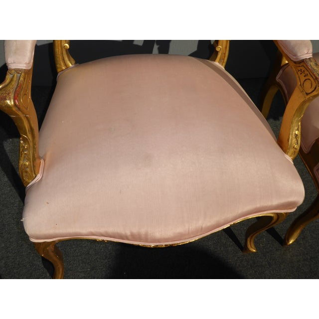 Vintage French Rococo/Louis XV Style Giltwood Accent Chairs- A Pair - Image 7 of 11