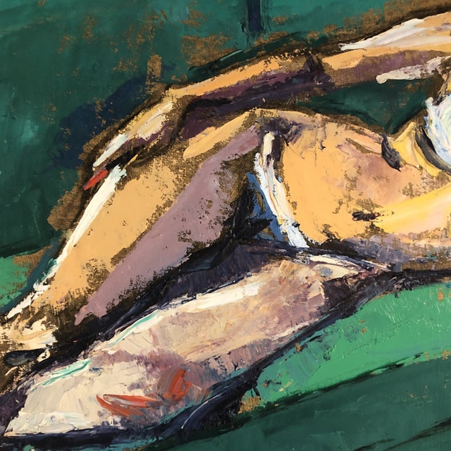 Original Vintage Female Reclining Nude Abstract Painting 1970's For Sale - Image 4 of 7
