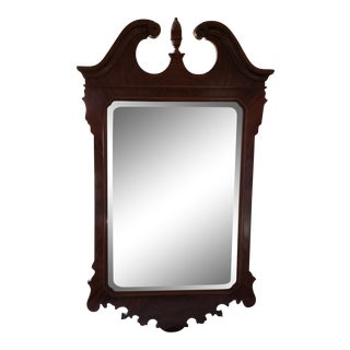 Drexel Heritage Heirlooms Flame Mahogany Chippendale Style Beveled Wall Mirror For Sale