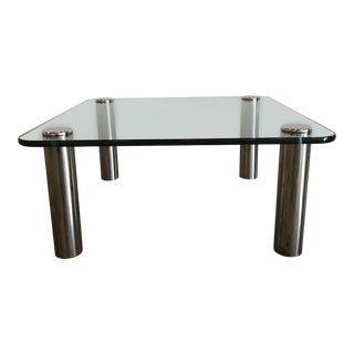 1970s Mid-Century Modern Marco Zanuso Glass and Steel Coffee Table For Sale