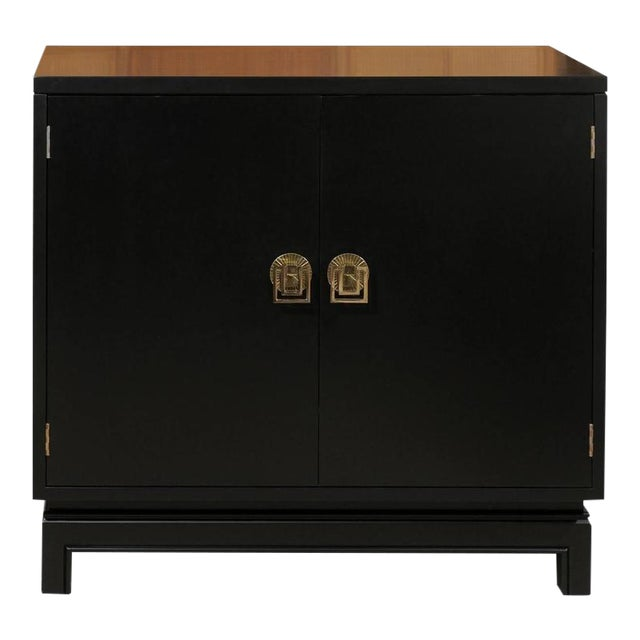 Elegant Mahogany Cabinet by Renzo Rutili in Black Lacquer For Sale