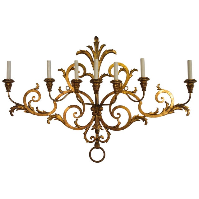 1950s Large Gilt Iron Italian Sconce For Sale - Image 11 of 11