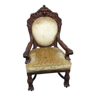 Early 20th Century Renaissance Style Oak Throne Chair For Sale