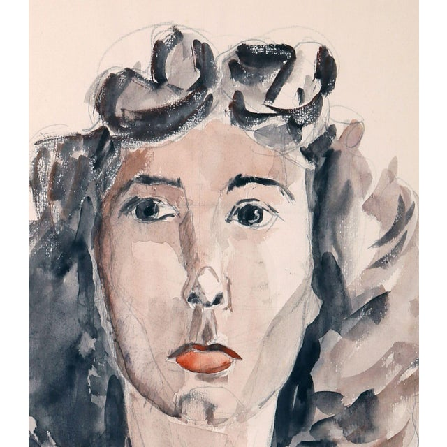"Eve Nethercott ""Portrait of a Woman"" Watercolor - Image 2 of 2"