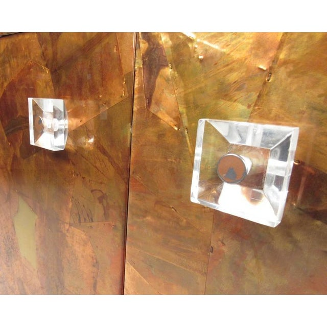 Metal Patchwork Copper and Lucite Sideboard in the Style of Milo Baughman For Sale - Image 7 of 11