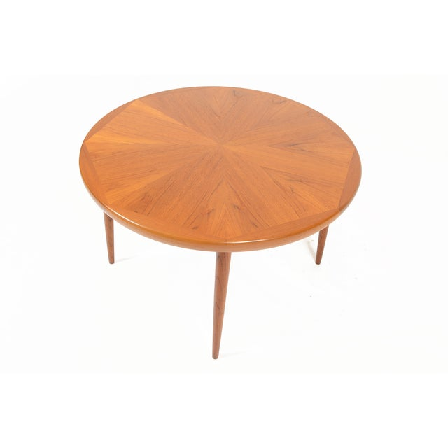 Danish Modern Round Starburst Teak Coffee Table - Image 3 of 9