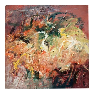 """Contemporary Abstract Acrylic Painting on Wood """"Box Study 1"""" by Mary Lou Siefker For Sale"""