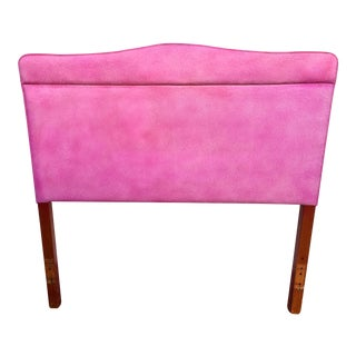 1960s Art Nouveau 'Pretty in Pink' Cushioned Patterned Twin Headboard For Sale