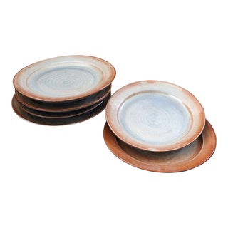 Handmade Ceramic Studio Pottery Plates - Set of 8 For Sale