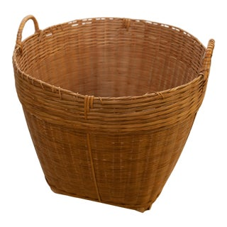 1980s Country Reclaimed Woven Basket For Sale