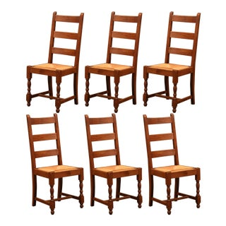 French Carved Oak Ladder Back Chairs With Rush Woven Seat, Set of Six For Sale