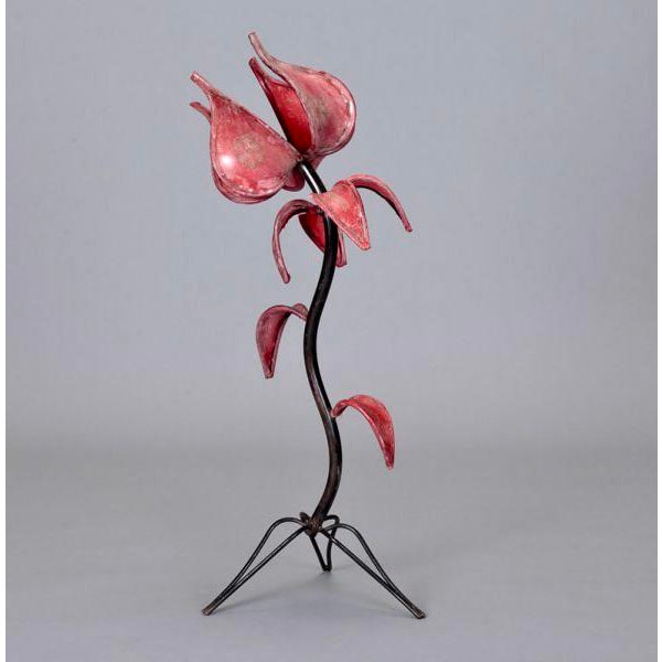 Mid-Century Iron & Red Leather Tulip Table Lamp - Image 3 of 4