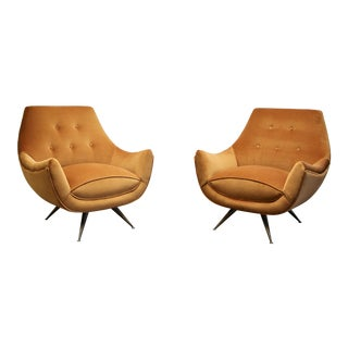 Henry Glass Velvet Lounge Chairs - a Pair For Sale