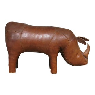 Vintage Omersa Abercrombie & Fitch Rhino Footstool For Sale