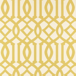 Schumacher Imperial Trellis Wallpaper in Citrine For Sale