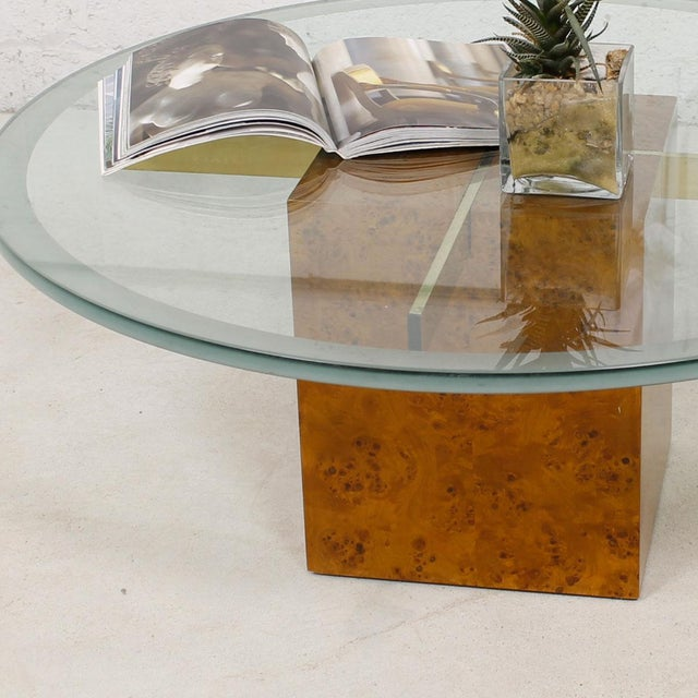Gold Milo Baughman X-Base Glass & Burled Wood Coffee Table For Sale - Image 8 of 9