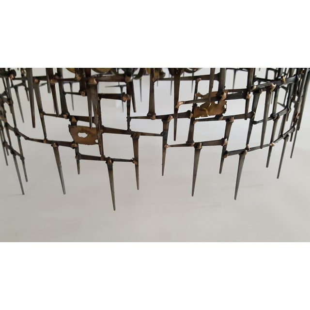 Welded Bronze & Nails Metal Chandelier For Sale In Miami - Image 6 of 11