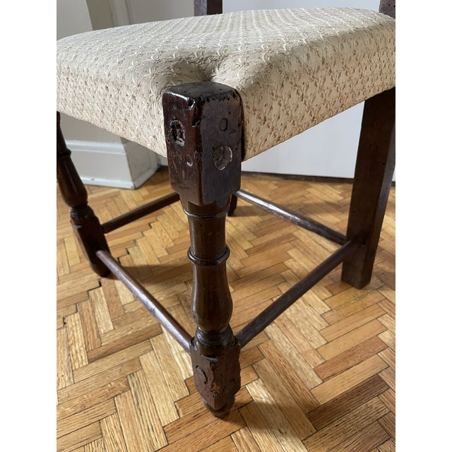Wood 17th Century Italian Florentine Hand Carved Upholstered Walnut Side Chair For Sale - Image 7 of 13