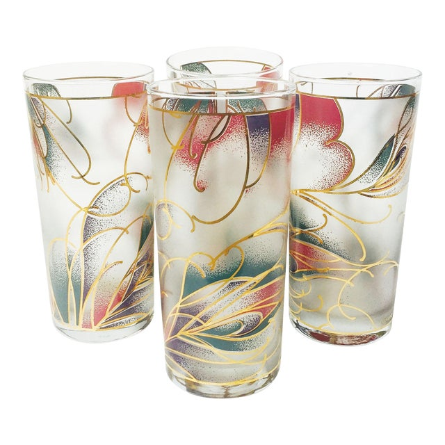 Vintage Abstract Pastel Culver Tumblers - Set of 4 - Image 1 of 6