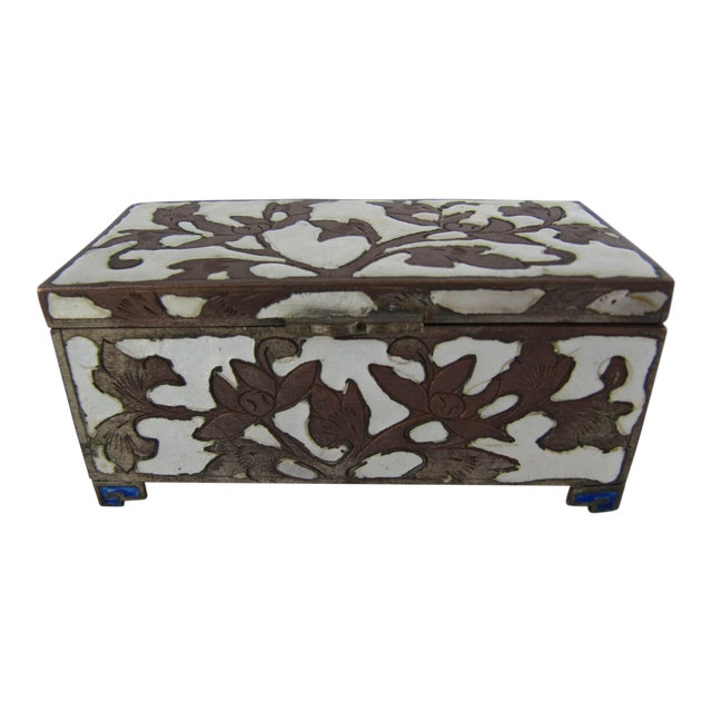 Antique Cloisonnée Two Sided Stamp Box For Sale