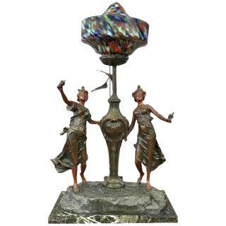 L & F Moreau Style Art Nouveau French Figural Table Lamp For Sale