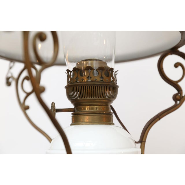 Antique French Milk Glass Hall Lantern For Sale - Image 10 of 11