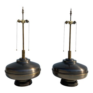 Mid-Century Extra Large Antique Brass Lamps - a Pair For Sale