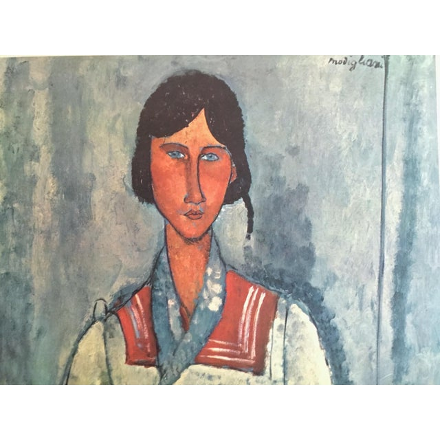 """Amedeo Clemente Modigliani Amadeo Modigliani Rare Vintage Mid Century Large Lithograph Print """" Gypsy Woman With a Baby """" 1919 For Sale - Image 4 of 10"""