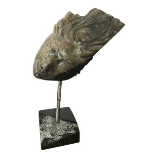1970s Figurative Stone Male Head Sculpture