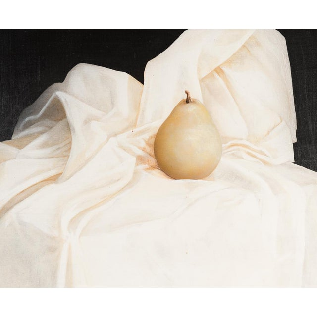 "Magritte Style ""Pear on a Cube of Clouds"" Painting For Sale - Image 4 of 9"